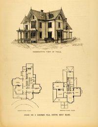 1878 Print Victorian Villa House Architectural Design ...