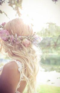 Bride with hair crown, beach waves, bridal hair