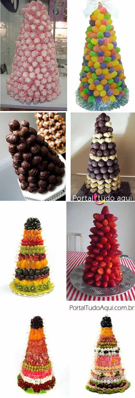 Arvores de Natal comestíveis para decoração da mesa de Natal ou Ano Novo:
