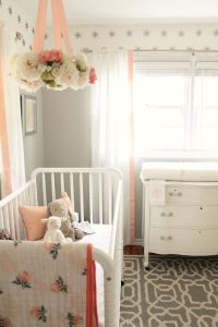 Peach and Gray Nursery Reveal | Bed ideas, Flower and ...