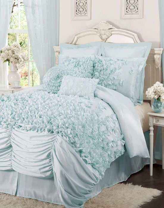Ruffled comforter, Tiffany blue and Comforter on Pinterest