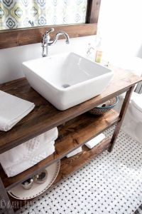 DIY bathroom remodel rustic industrial custom vanity with