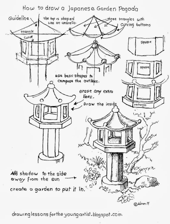 How to draw a garden pagoda worksheet. See more at my