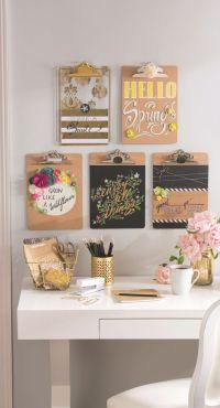 Office Organization Ideas -- DIY Clipboard Wall Art - DIY ...