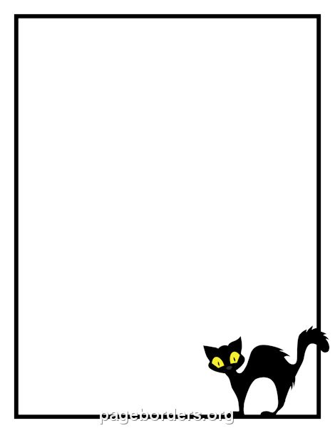 Printable black cat border. Use the border in Microsoft