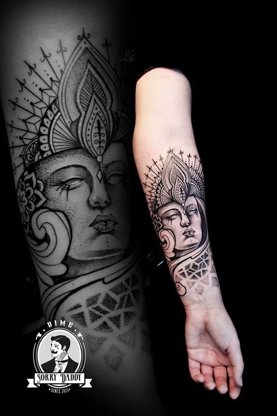 Tatouage Bouddha Bouddhisme Spiritualité Soleil Lune Idée