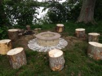 Fire Pit w/tree stump seats | Fire Pits | Pinterest | Fire ...