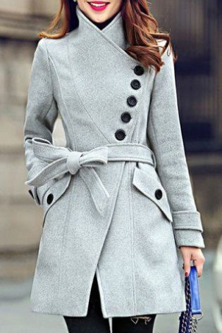 Elegant Stand Collar Candy Color Belt Design Long Sleeve Coat For WomenCoats | RoseGal.com: