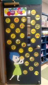 Our end of the year door. Each bubble has a picture from ...