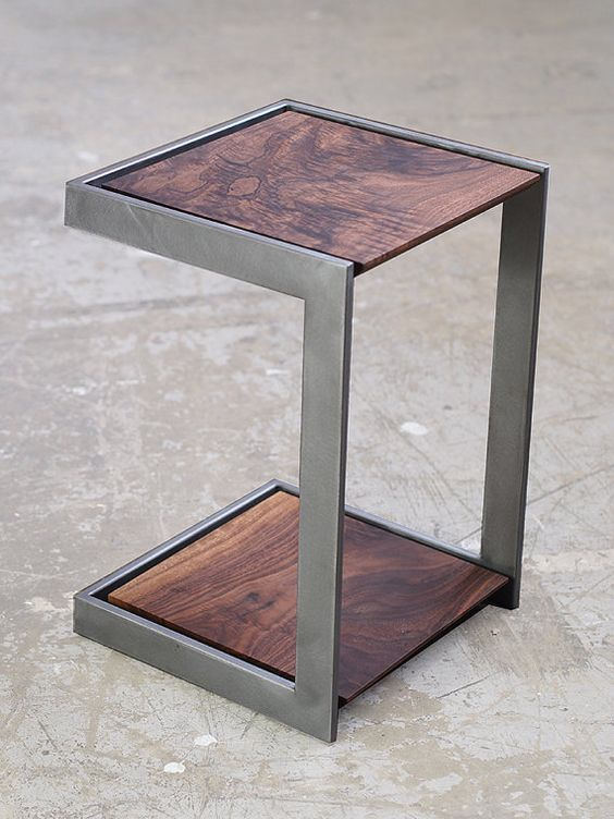 Suspended Wood and Metal End Table Modern by