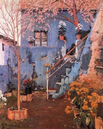Santiago Rusiñol - Blue Patio in Sitges:
