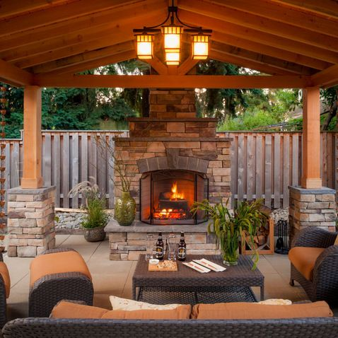 outdoor living space with fireplace Charm of an outdoor living space w/grand fireplace