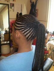 cornrow ponytail shot