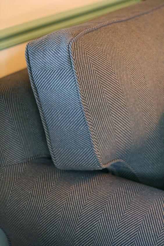 Custom Slipcovers by Shelley NavyTan Herringbone Couch