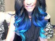 black blue & aqua ombre hair