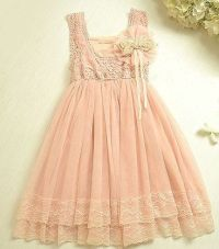 Vintage Pink Lace Girls Dress Flower Girl Bridesmaid Dress