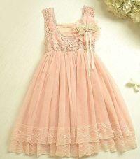 Vintage Pink Lace Girls Dress Flower Girl Bridesmaid Dress ...