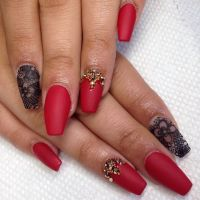 Red nails, Long red nails and Nails on Pinterest