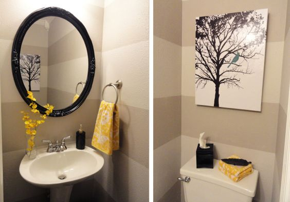 yellow and grey bathroom mirror Grey and Yellow Powder Room, I wanted something bright and