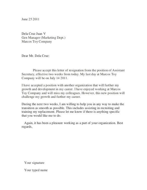 HOW TO WRITE A RESIGN LETTER  Letter Of Resignation  Cover Letter  Cv Template  Pinterest