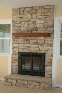 covering a gas fireplace with stone to make it look real ...