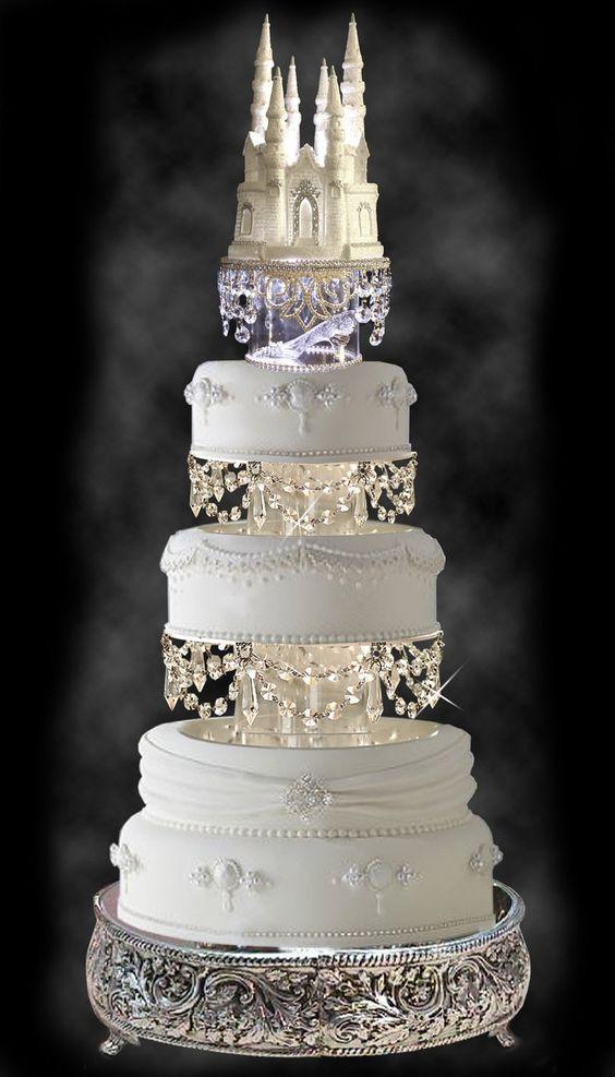 Gorgeous Wedding Cake with Swarovski Crystal Cinderella Castle Royal Wedding Cake Topper