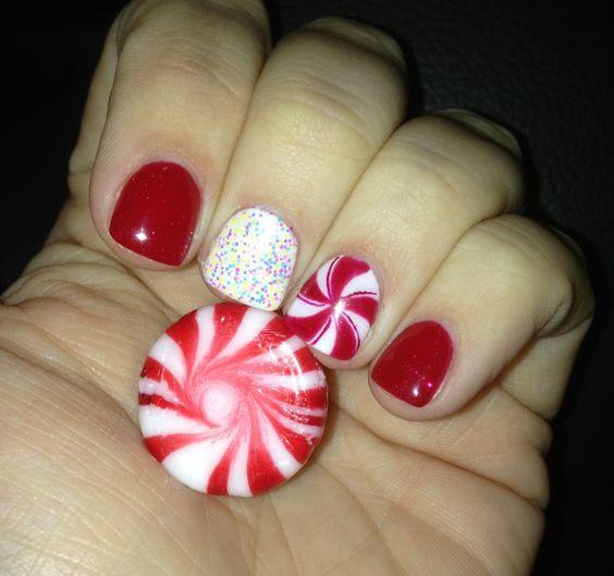 Holiday peppermint glitter gel manicure