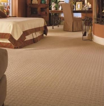 Patterned neutral berber carpet for bedrooms and family