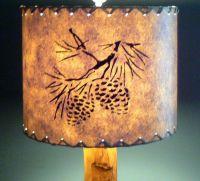 Pine Cone Drum Lamp Shade, Stenciled Paper, Rustic Cabin ...