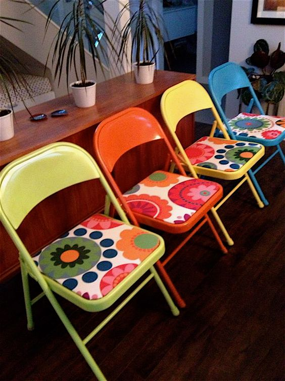Old metal folding chairs made new again Spray paint and