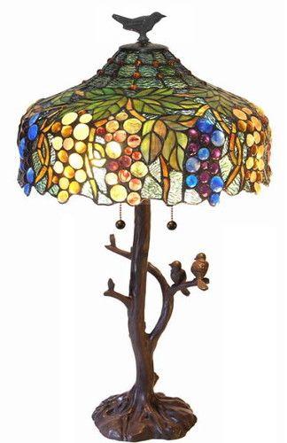 Tiffany Tree Trunk Birds on Branch Table Lamp