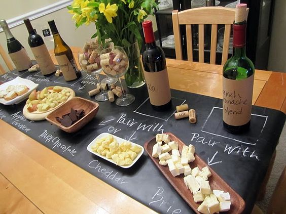 Chalkboard Runner for a wine and cheese night.:
