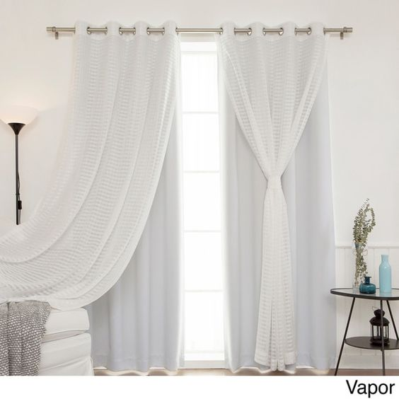Aurora Home MIX & Match Curtains Blackout And Check Sheer 84 Inch