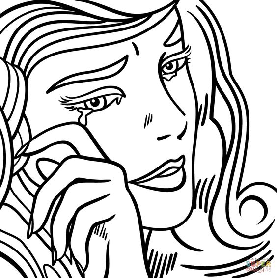 Crying girl, Roy lichtenstein and Coloring on Pinterest