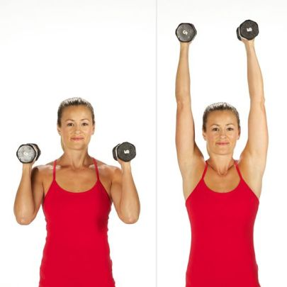 Hold a dumbbell in each hand just above the shoulders, palms facing in. Straighten the arms above you. Bend the elbows coming back to the starting position to complete one rep.: