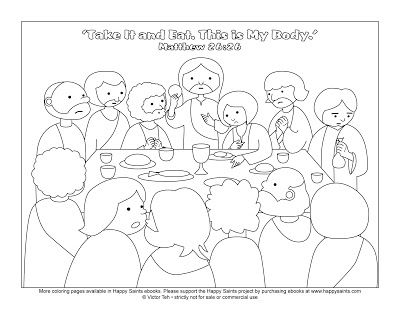 Happy Saints: Free Coloring Page of the Last Supper