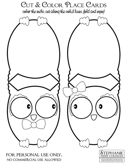 My Owl Barn: Freebie: Owl Place Cards. I would use them in