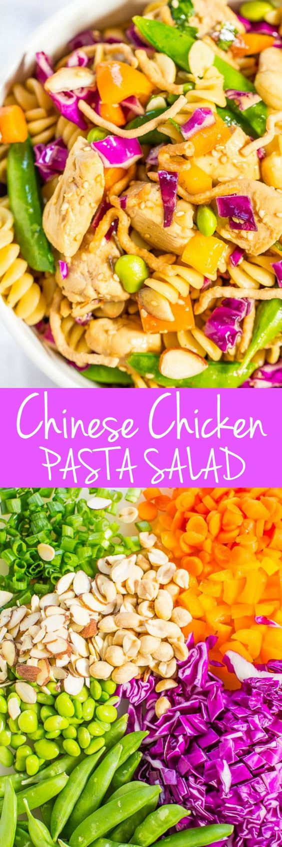 Chinese Chicken Pasta Salad Recipe via Averie Cooks - Big juicy chicken chunks and texture galore from the rainbow of crispy veggies! Fast, easy, fresh and healthy!! Great for picnics, potlucks, and easy dinners!! Easy Pasta Salad Recipes - The BEST Yummy Barbecue Side Dishes, Potluck Favorites and Summer Dinner Party Crowd Pleasers