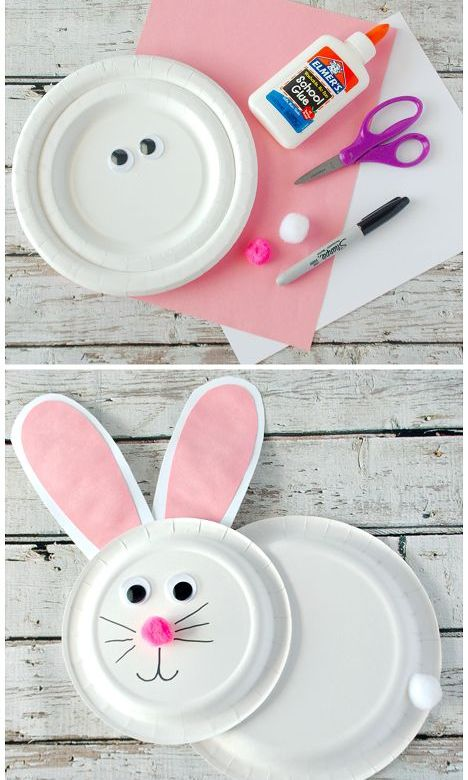 Cute Paper Plate Bunny Rabbit Easter Craft for Kids to Make