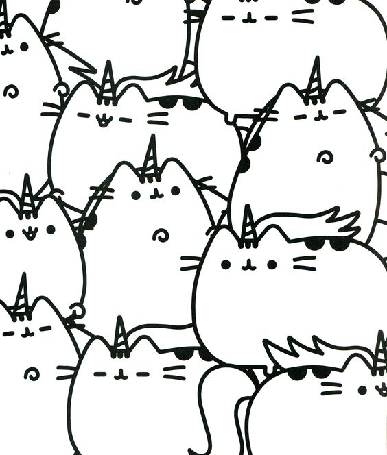 Pusheen Cat Coloring Page Shapes Coloring Pages
