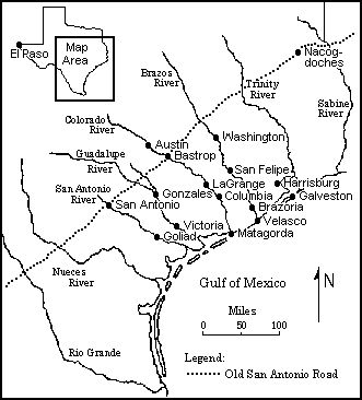 This Map Shows the Major Settlements in Texas that Date