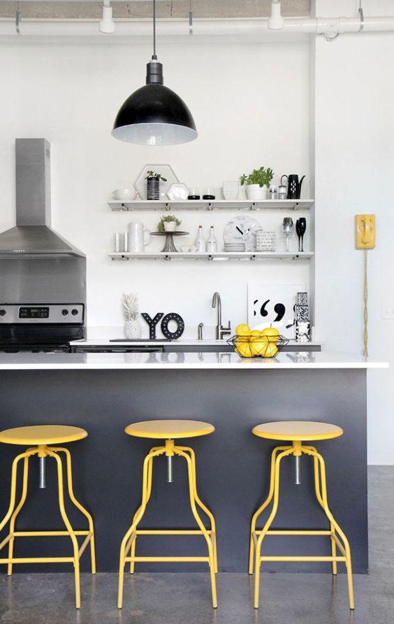1-decoração-com-amarelo-cinza-e-branco-cozinha: