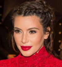 Kim Kardashian African braid in double and bun hairstyles ...