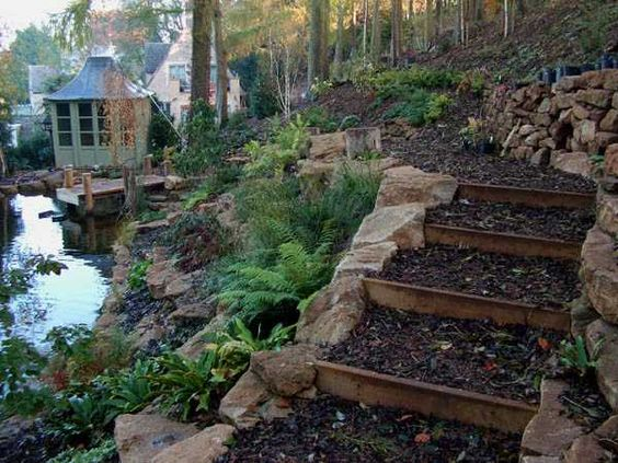 wooden outdoor stairs and landscaping