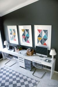 Home office and play area in one  Ikea Micke desks ($69 ...