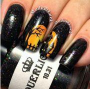 purple glitter halloween nails