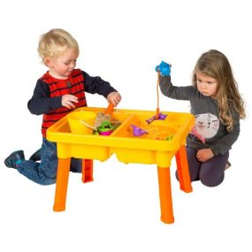 This Sand and Water Fishing Table has two play areas. The two play areas give you the choice of filling one with sand and one with water or you can fill both areas with sand or water. (Sand sold separately) Fill one side with water and you can play with the included fishing rod and catch some toy fish. They have fun using the included bucket and moulds to create master pieces in the sand area.: