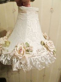 Lace lamp, Shabby chic style and Pink roses on Pinterest