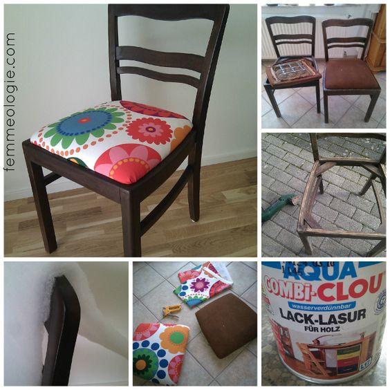 Stühle im Wohnzimmer dunkelbraun streichen und mit roten ...