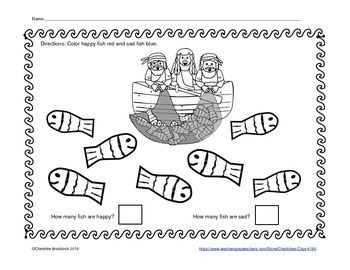 This free printable incorporates the bible story, Fishers